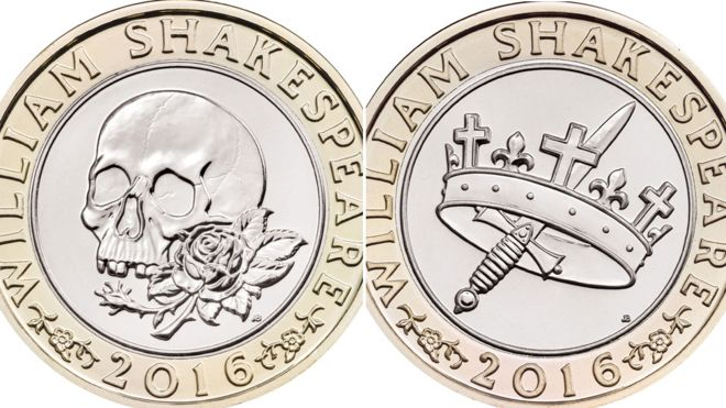 New coins UK British pound Shakespeare