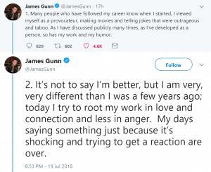 Disney Drops Gunn